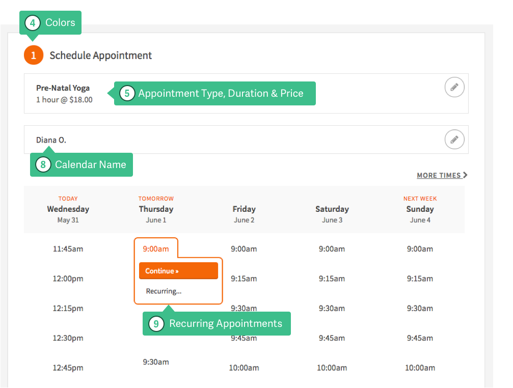 Anatomy of the Client\'s Scheduling Page – Acuity Scheduling