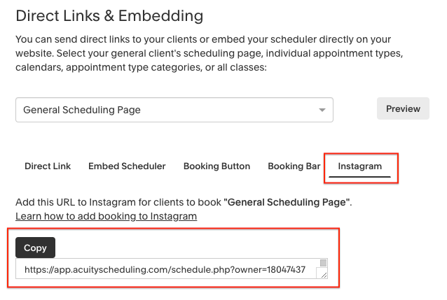 Integrating with Instagram – Acuity Scheduling