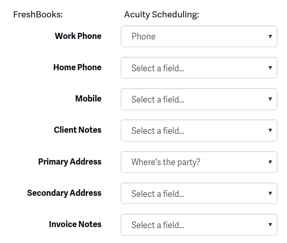 Classic FreshBooks Acuity Scheduling - Invoice address